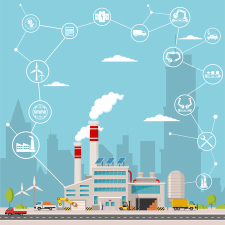 smart factory and around it icons. Smart factory or industrial internet of things. Background vector illustration