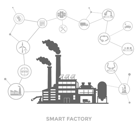 Smart factory with internet icons around it in white background. Stock Illustratie