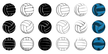 Set volleyball icon contour ball, colored ball Illustration