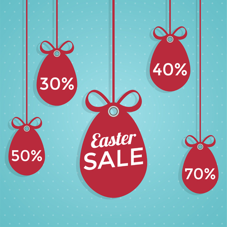 Happy Easter sale flat style. Иллюстрация