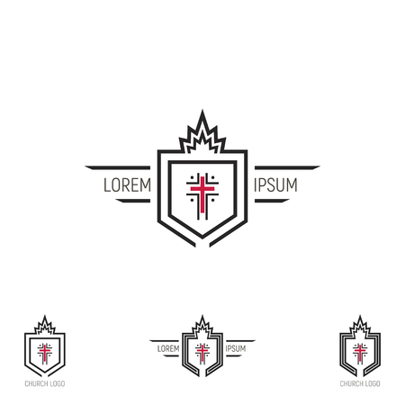 Set Church logo. Shield with a cross.