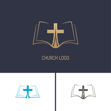 Logo of the Church. Christian symbols. A book with a cross. Vector illustration.