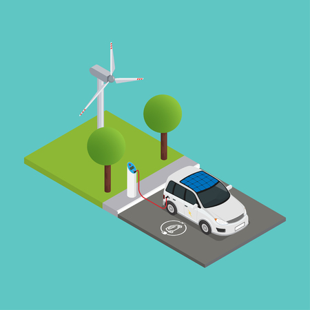 An isometric electric car is charged at the charging station and behind them is a wind turbine. Vector illustration.
