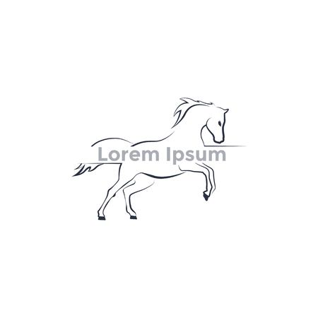 logo running horse, contour logo Vector illustration.