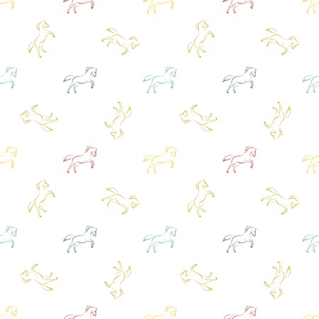 Colored running horses seamless pattern. Иллюстрация