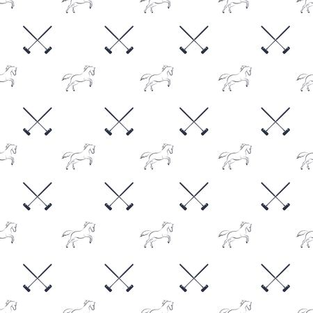 Polo seamless pattern, running horses and cross-sticks for polo. Vector illustration. Illustration