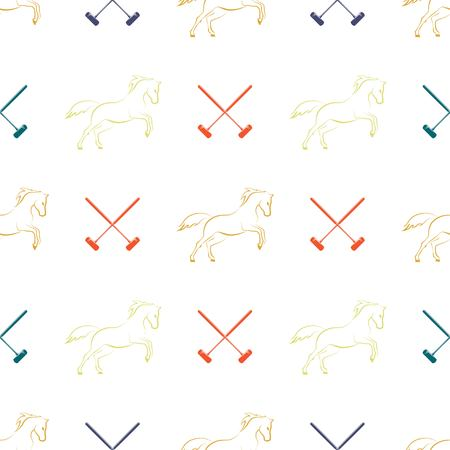 Polo seamless pattern, running horses and cross-sticks for polo. Vector illustration. Иллюстрация