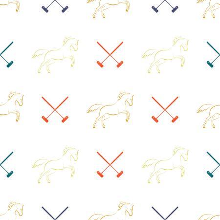 Polo seamless pattern, running horses and cross-sticks for polo. Vector illustration. Illustration