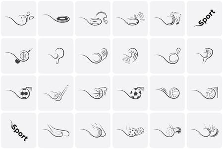 Set Sports Icons football, tennis, baseball, basketball, soccer, volleyball, golf, hockey, floorball and many others 版權商用圖片 - 100296778