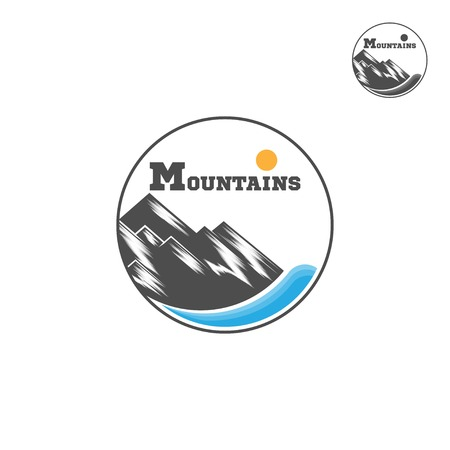 Mountain Logo. Liner design logo. Mountain and river. Vector Illutrator Иллюстрация