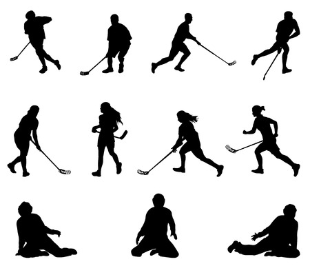 Floor ball player silhouette. Men, women goalies.