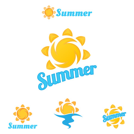 Summer logo, beautiful summer illustrations. Иллюстрация