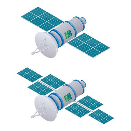 Ilustración isométrica de satélite GPS. Tecnología satelital inalámbrica.
