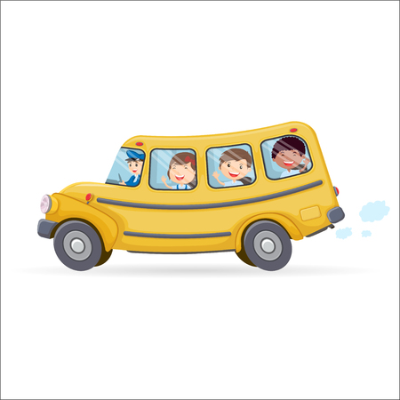 Funny school bus. Kids riding on school bus. vector illustration