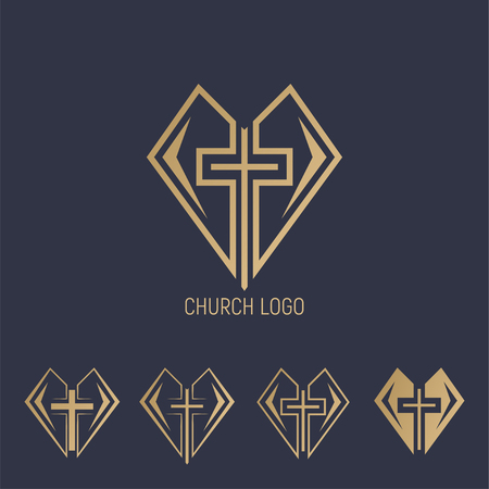 Set logo. Church logo. Cross with heart.