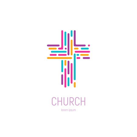 Abstract christian cross logo vector template. Church logo. 向量圖像