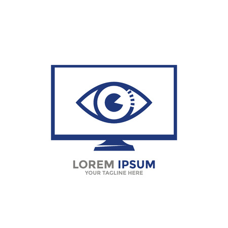 Logo template. Computer monitor with open eye.