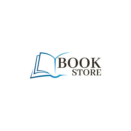 Bookstore Logo template. Design logo open book. Иллюстрация