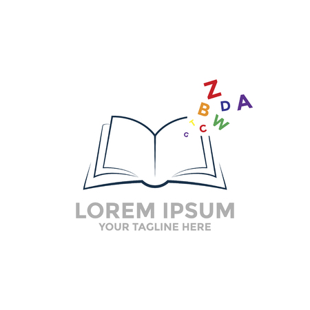 Open book Logo template with colored letters. Иллюстрация