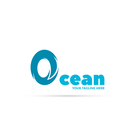 Ocean wave logo. The letter O symbolizes wave Иллюстрация