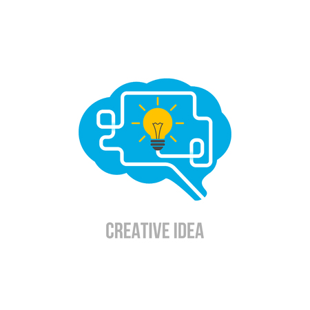 Emblem brain. Symbol of creative ideas, mind, thinking Иллюстрация