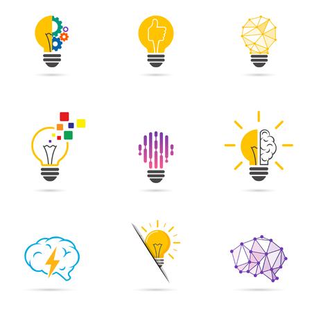 Set light bulb icon. Energy and idea symbol, technology icons.