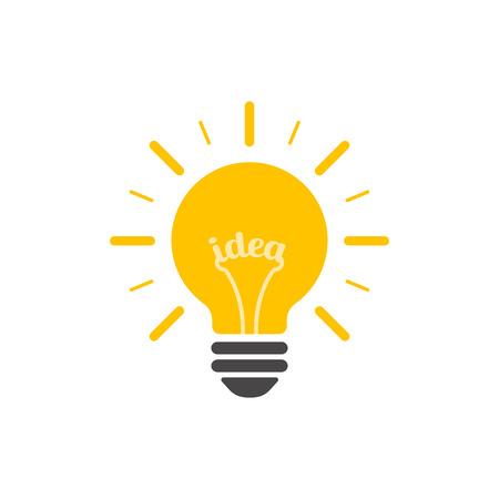 Glühbirne mit Strahlen glänzen. Energie- und Ideensymbol. Vektor-Illustration. Vektorgrafik