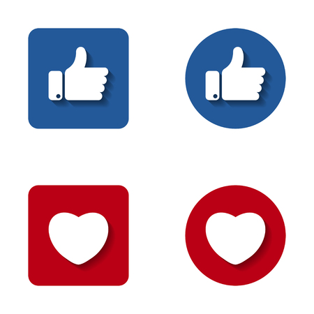 Thumbs up and heart button icon. Like and heart symbol for your web site design, logo.
