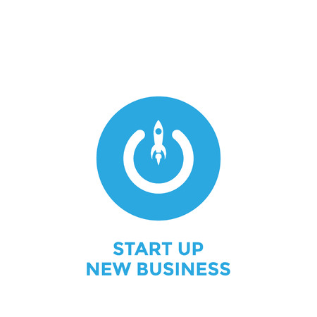 Conceptual of start up new business project, take off of a business. Button of start up new business project. Vector illustration
