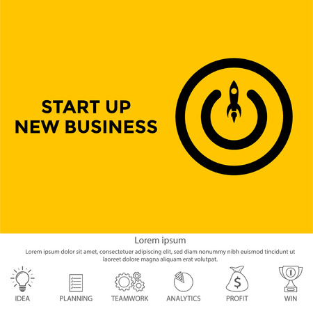 Conceptual of start up new business project, take off of a business. Button of start up new business project. Иллюстрация