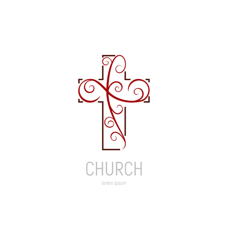Abstract christian cross logo vector template. Church logo. Stock Illustratie