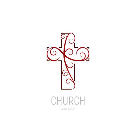 Abstract christian cross logo vector template. Church logo. Illustration