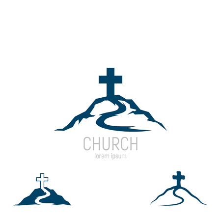 Abstract christian cross logo vector template. Church logo. Иллюстрация
