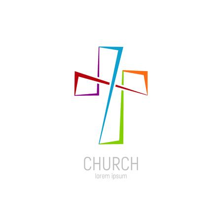 Sjabloon voor abstract christelijk kruis logo vector. Kerk logo. Logo