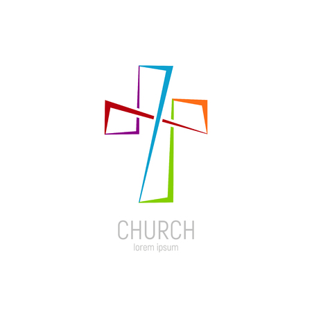 Abstract christian cross logo vector template. Church logo. Illustration
