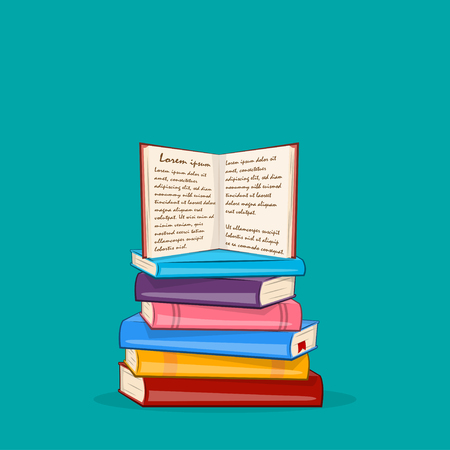 Books background. Pile of Different color books. Vector illustration