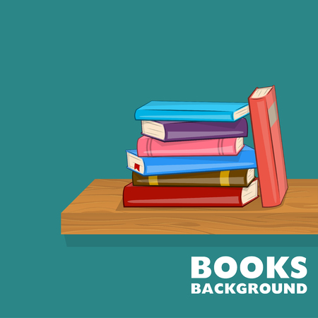Bookshelf with pile of books. Different color books on shelf. Vector illustration