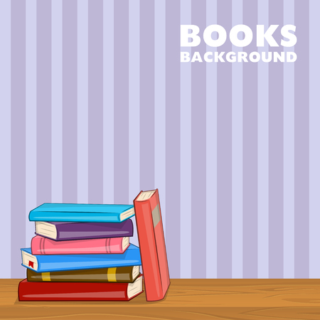 Pile of Different color books on shelf. Vector illustration