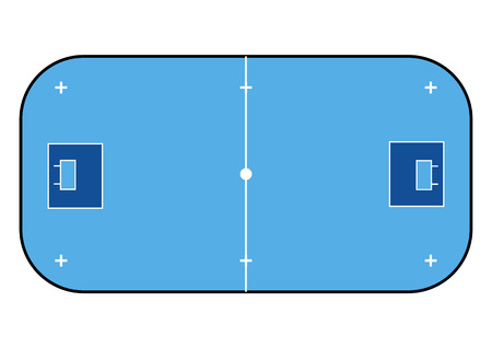 Floorball court line art style. Sport background. Vector illustration