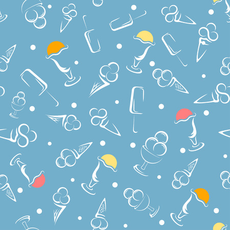 Cartoon Ice cream seamless pattern. vector illustration