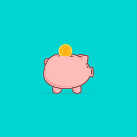 Piggy bank in a flat style. Piggy bank with coin vector illustration.