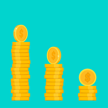 Coins pile, one golden coin standing on stacked gold coins. vector illustration Иллюстрация