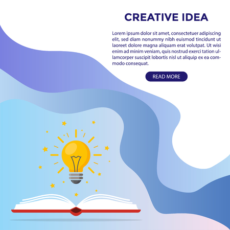 Web design. Light bulb over the book as a symbol of knowledge, the birth of ideas. Vector illustration