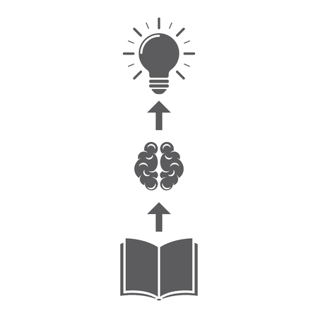 Illustration of the emergence of ideas. Brain and light bulb above the book. Vector illustration