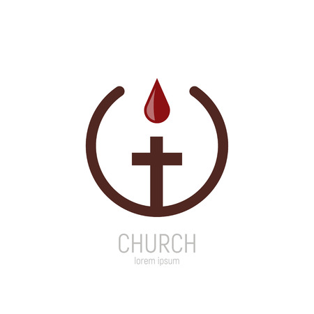 Church logo. A drop of the blood of Jesus drips onto the cross.