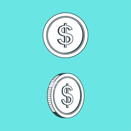 Icon Coin with images of sign dollar on her. Vector illustration.
