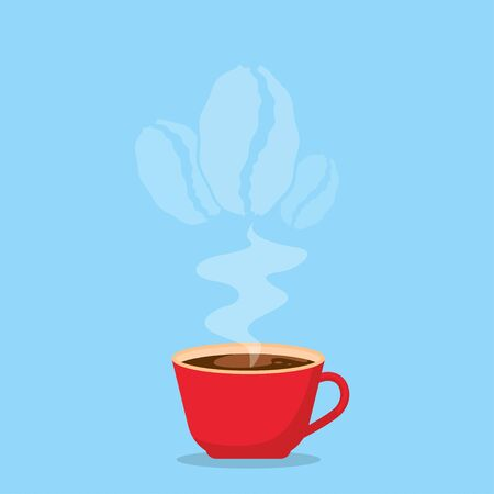 A cup of hot coffee with a rising aroma coffee bean. Ilustração