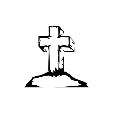 Sketch cross stands on a mountain, as a symbol of resurrection.