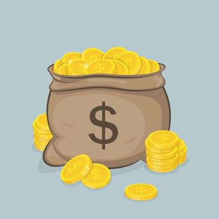 Illustration of a sack with gold coins with images of sign dollar on it.
