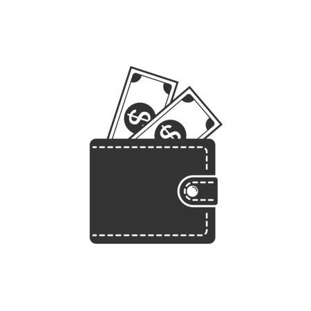 Wallet icon. Wallet and money peeping from it. Vector illustration